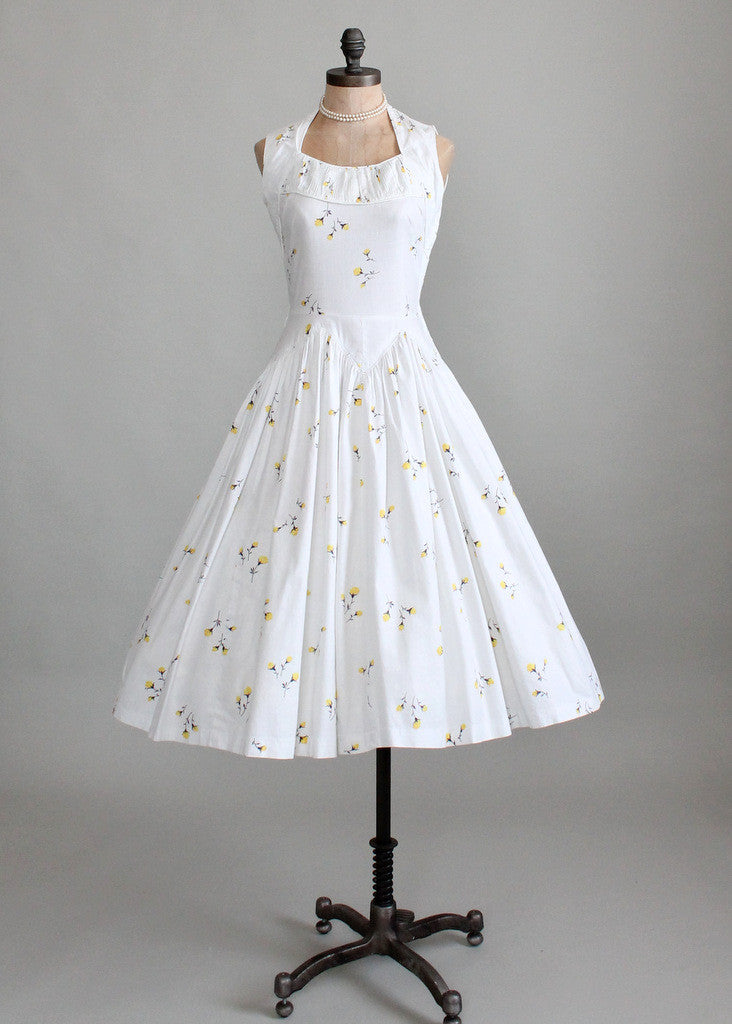 Vintage 1950s White Floral Cotton Sundress Raleigh Vintage