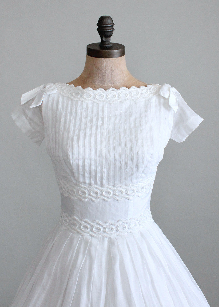 Vintage 1950s White Organdy Wedding Dress