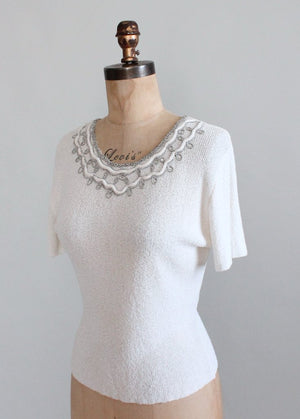 Vintage 1950s Rhinestone and Velvet Trimmed White Sweater