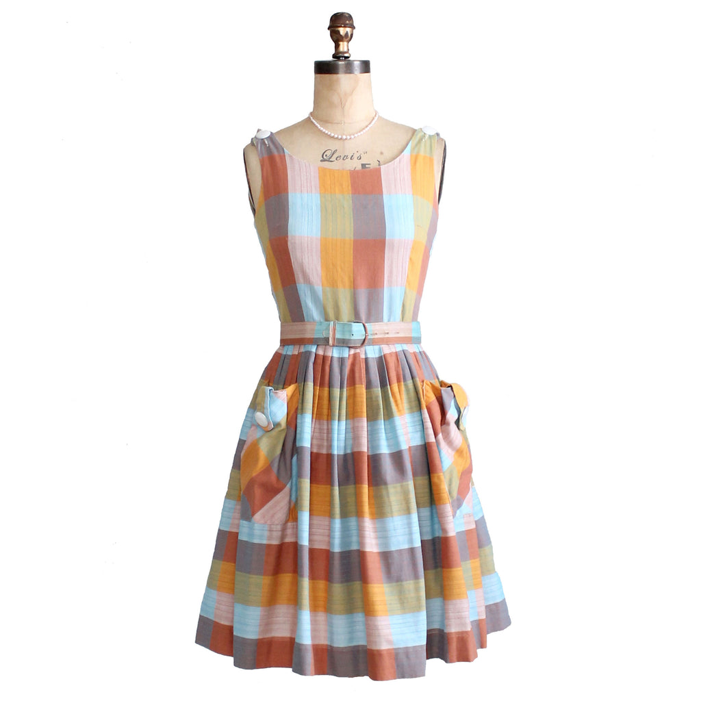 Vintage Early 1960s Windowpane Cotton Dress