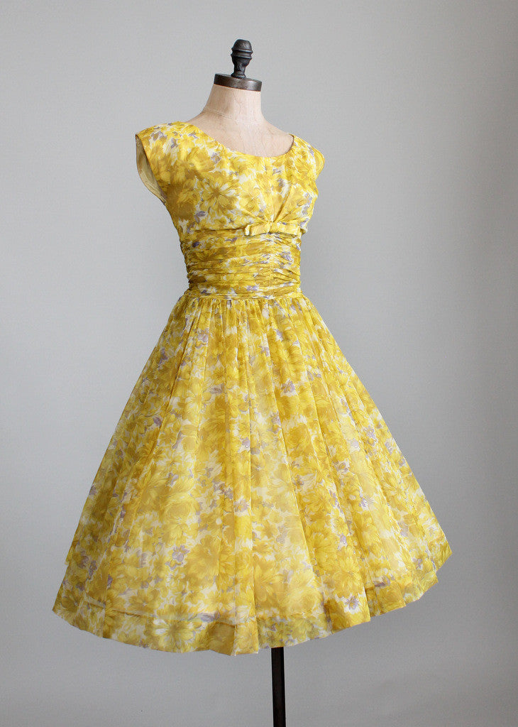 Vintage 1950s Yellow Floral Chiffon Party Dress Raleigh