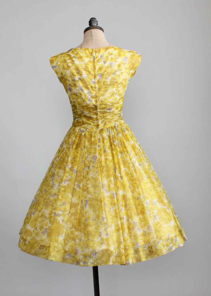 Vintage 1950s Yellow Floral Chiffon Party Dress