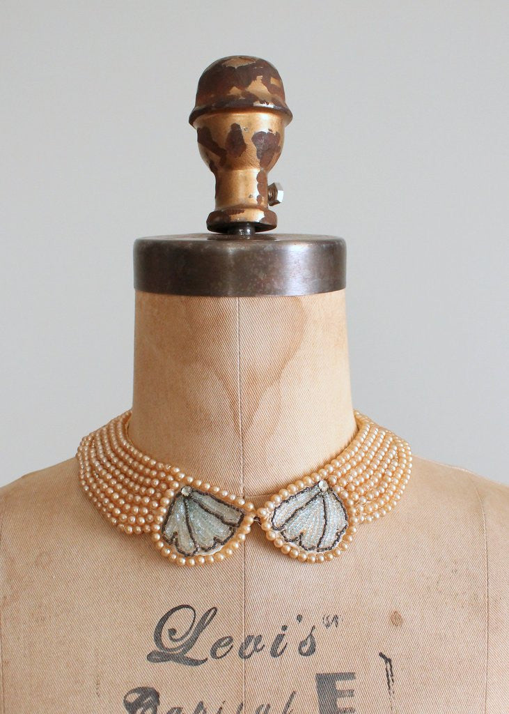 Vintage 1950s Pearl Beaded Sweater Collar