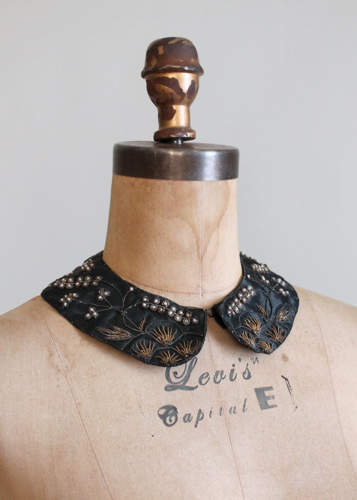 Vintage Black Sweater Collar with Metallic Embroidery