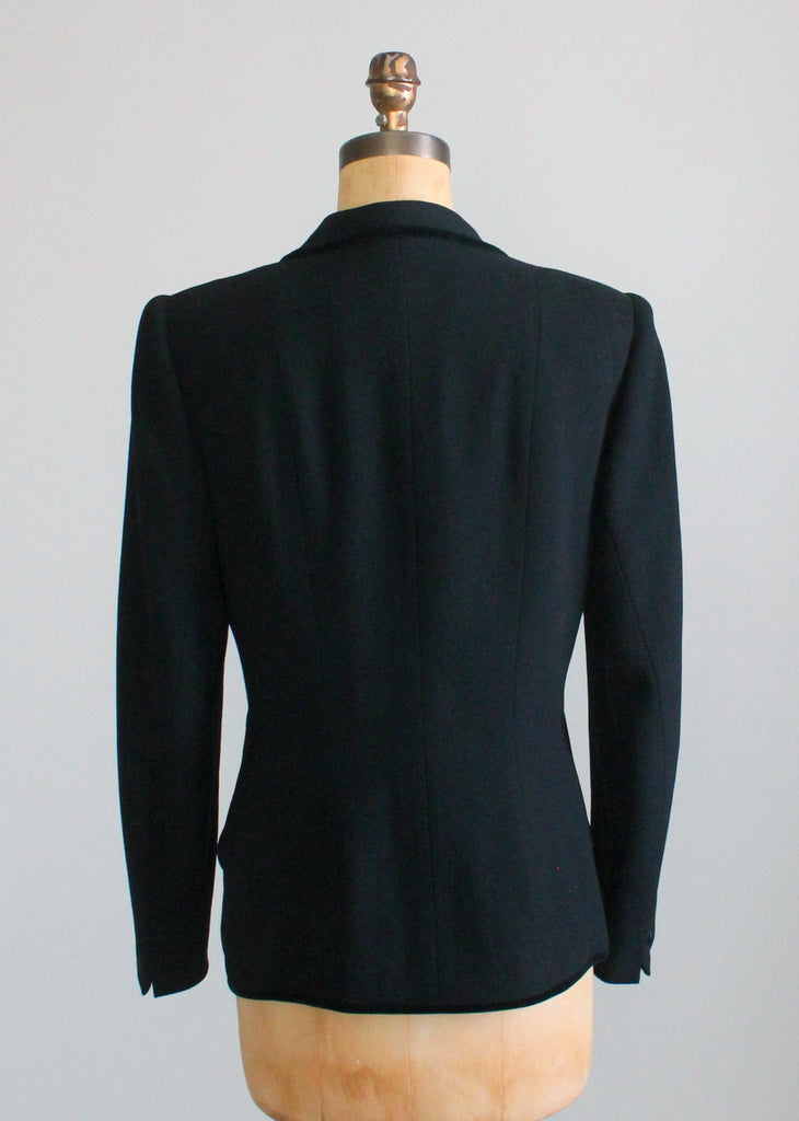 Vintage Early 1950s Tailored Black Wool and Velvet Jacket