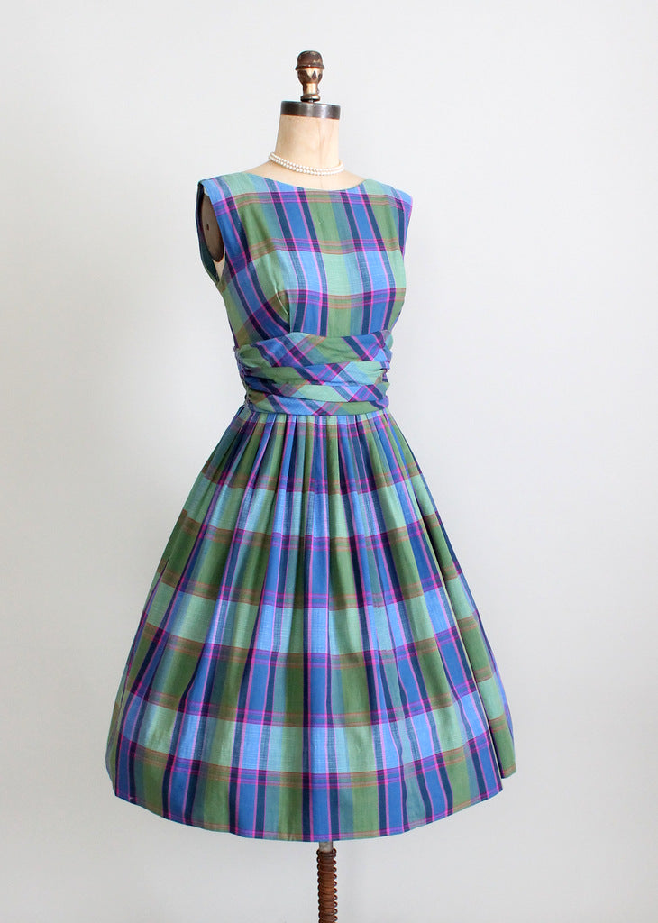 1950s plaid mad men dress