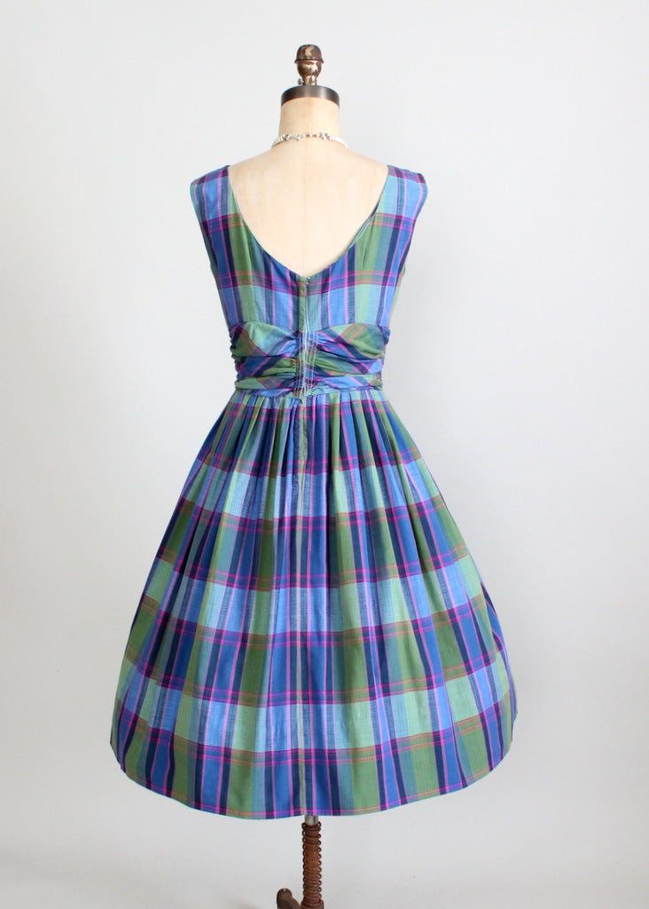 1950s plaid full skirt day dress