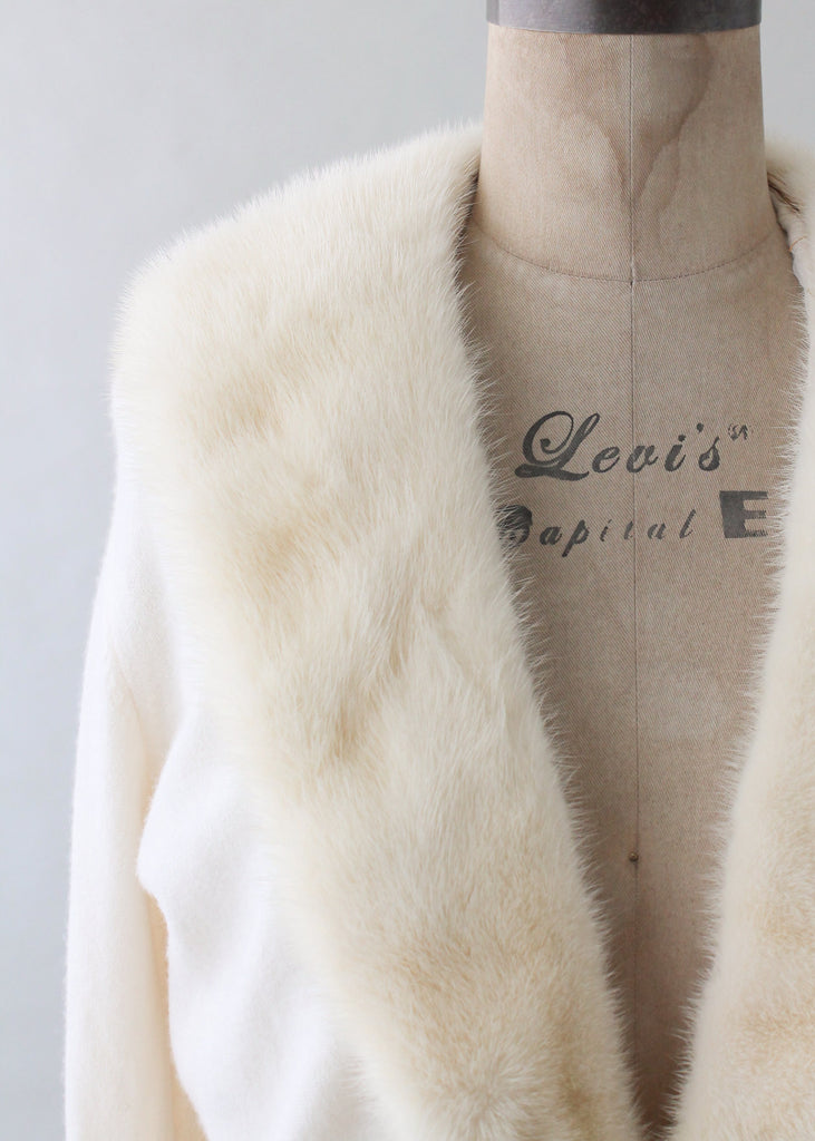 Vintage 1950s Winter White Cashmere and Fur Cardigan
