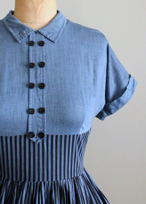 Vintage 1950s Striped Chambray Cotton Day Dress