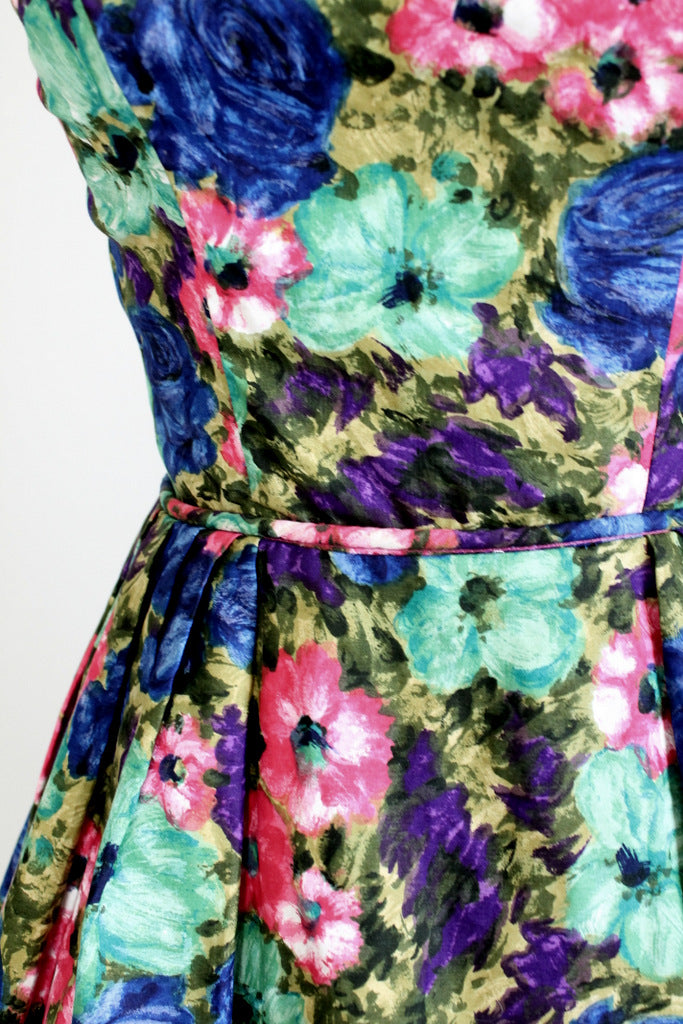 1950s floral cotton dress