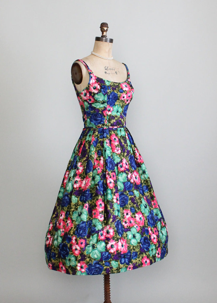 1950s floral bombshell dress