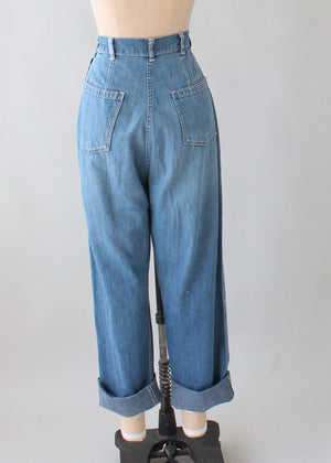 Vintage 1950s Distressed and Patched Jeans