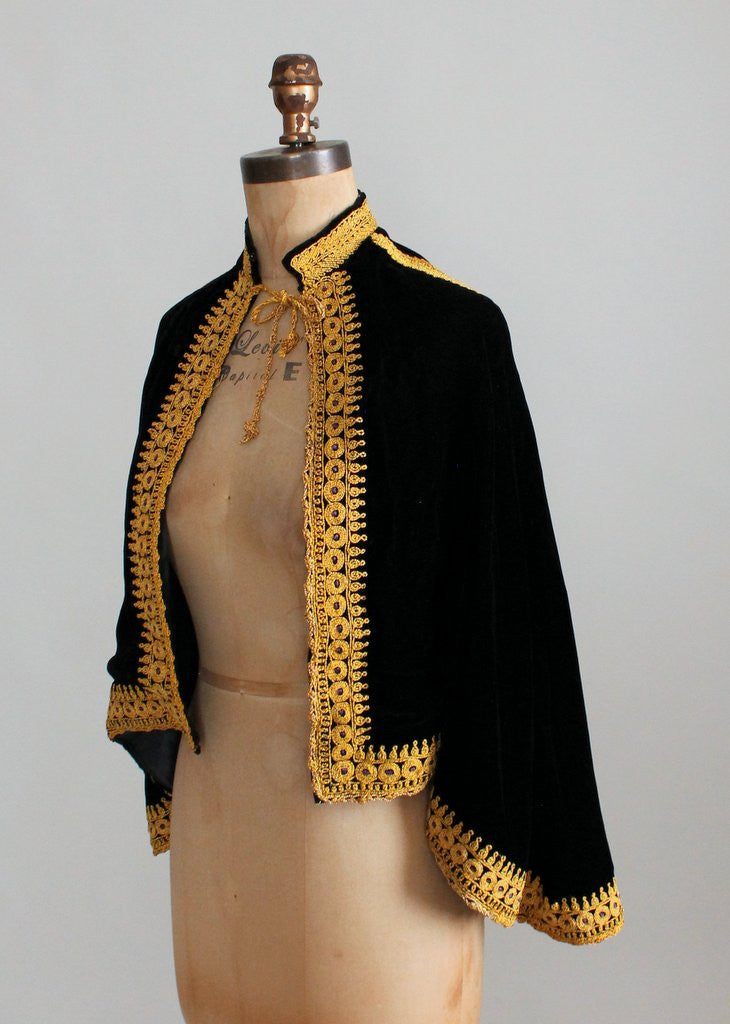 Vintage 1950s Gold Embroidered Black Velvet Cape