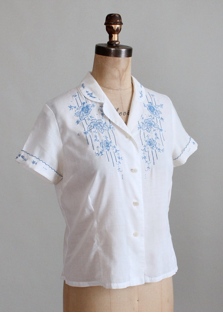 Vintage 1950s White and Blue Embroidered Shirt
