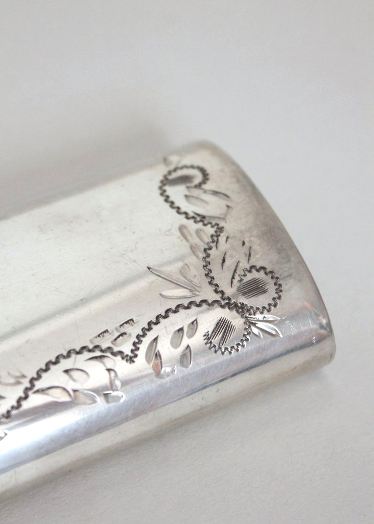 1950s English Engraved Pewter Ladies Flask