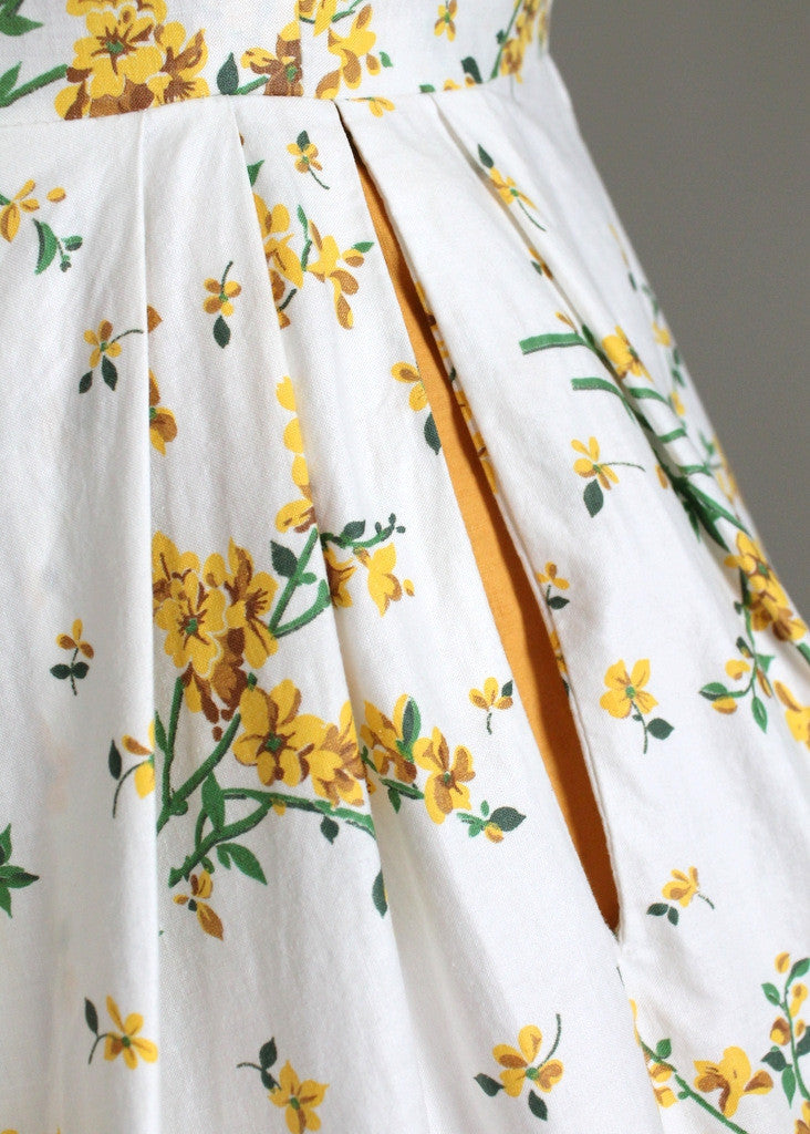 Vintage 1950s Goldenrods and Rhinestones Cotton Dress