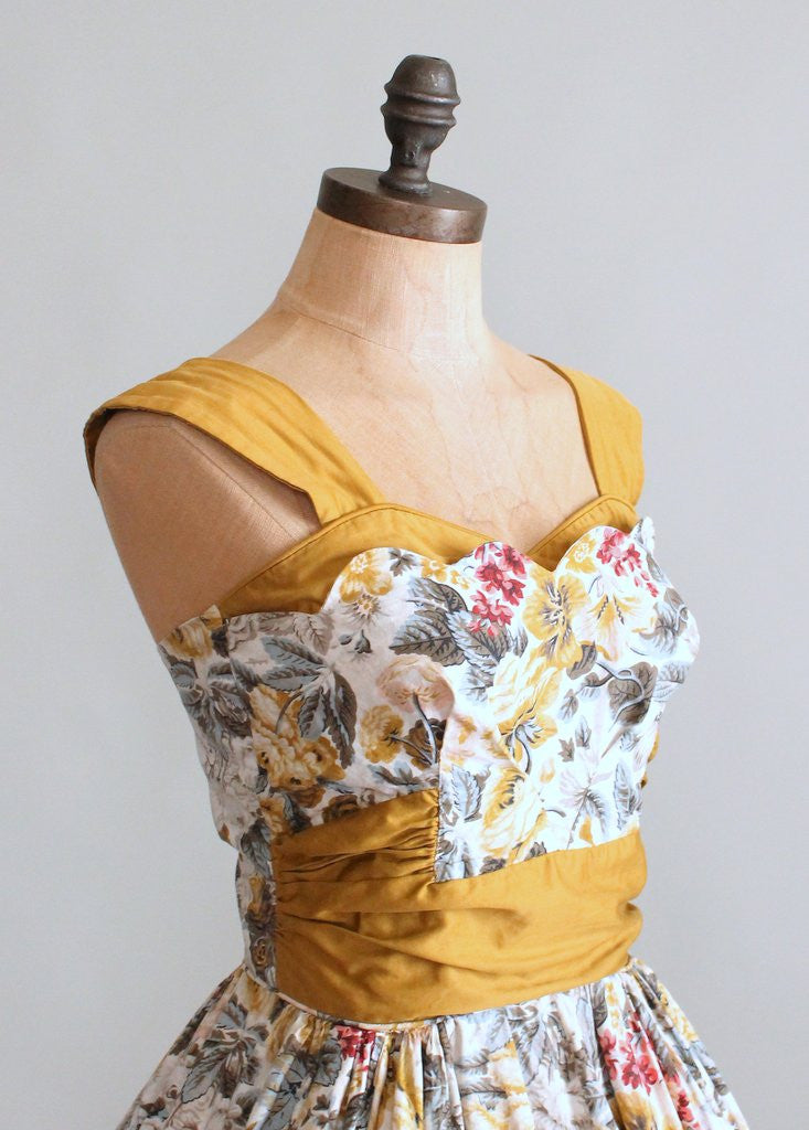 Vintage 1950s Provence Floral Cotton Sundress