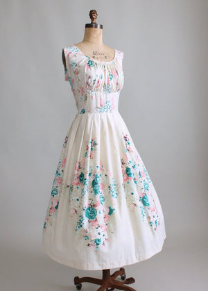 Vintage 1950s Painterly Bouquet Sundress