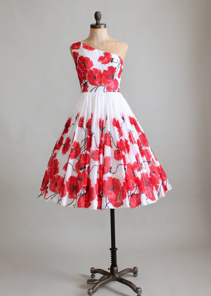 Vintage 1950s Poppies Floral One Shoulder Party Dress