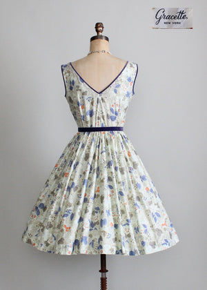 Vintage 1950s Sequins and Flowers Garden Party Dress