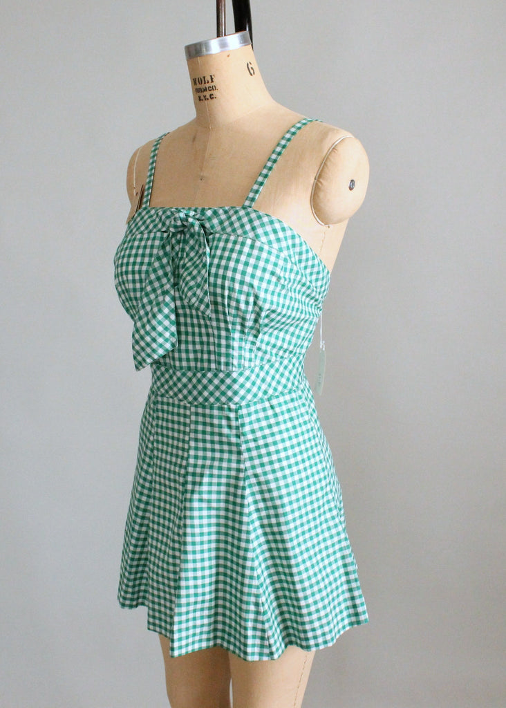 cd4fb3c36cbdc Vintage Late 1940s Gingham Swimsuit with Terrycloth Cover Up ...