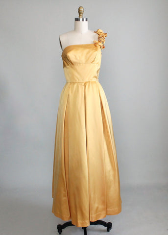 Vintage 1950s Golden Satin One Shoulder Evening Dress
