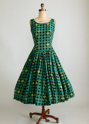 Vintage 1950s Shades of Green Floral Drop Waist Dress