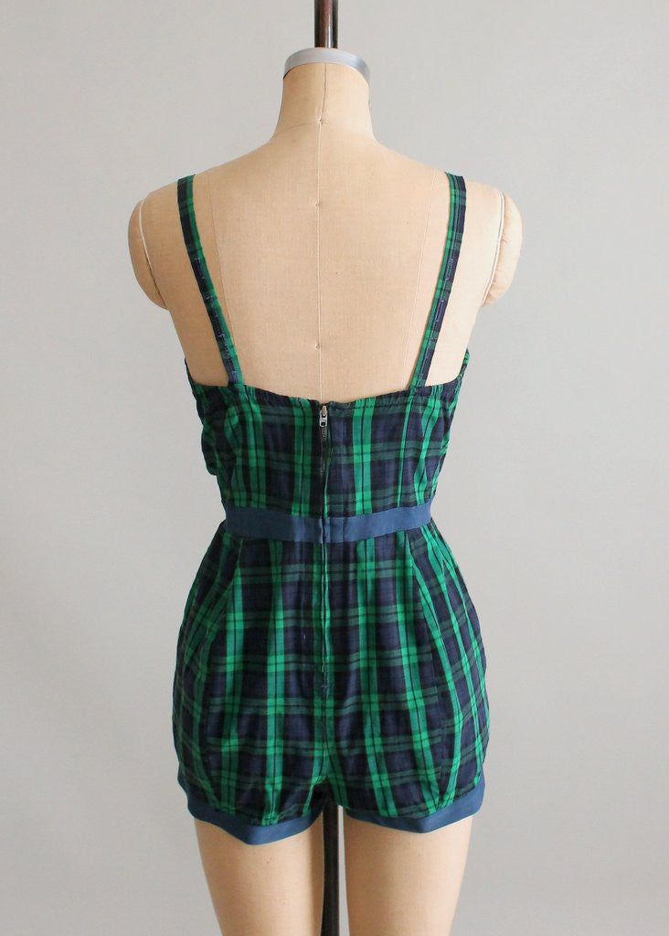 Vintage 1950s Tartan Plaid Playsuit
