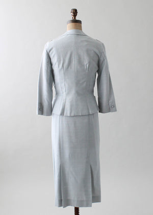 Vintage 1960s Grey Wiggle Dress and Jacket Suit