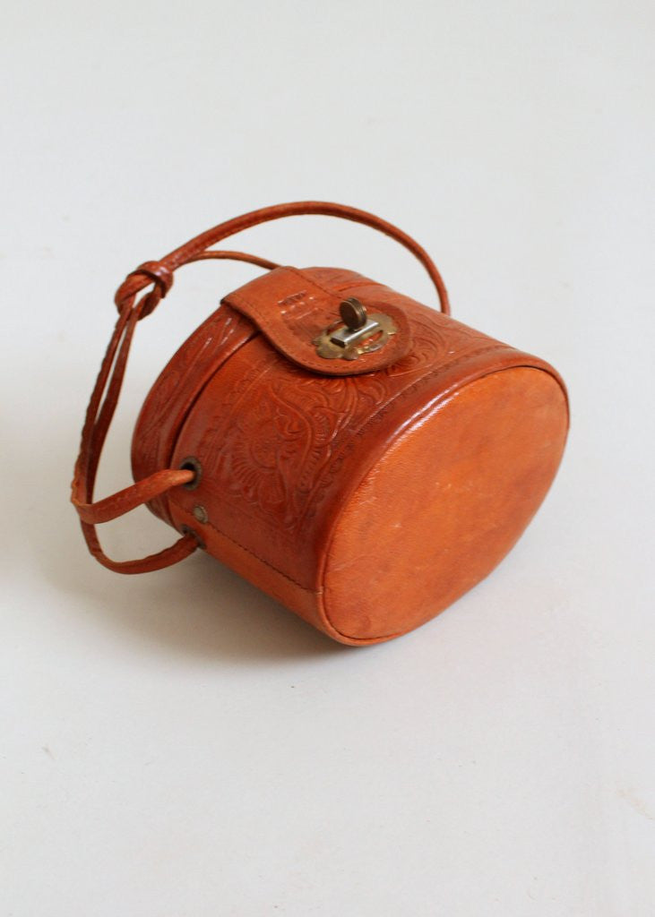 Vintage 1950s Tooled Leather Mini Box Purse