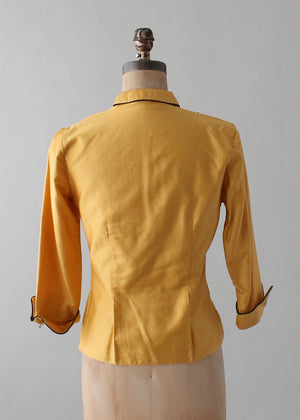 Vintage 1950s Mustard Cotton Blouse