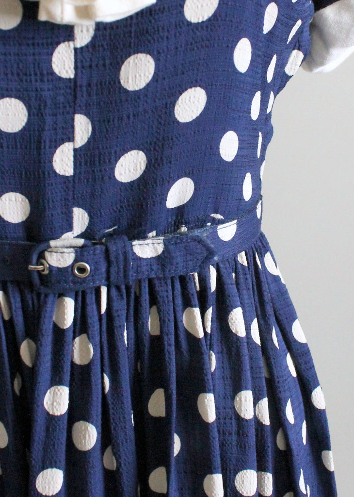 Vintage 1950s Navy and White Polka Dot Day Dress