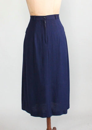 Vintage 1950s Navy Asymmetrical Pleat Skirt