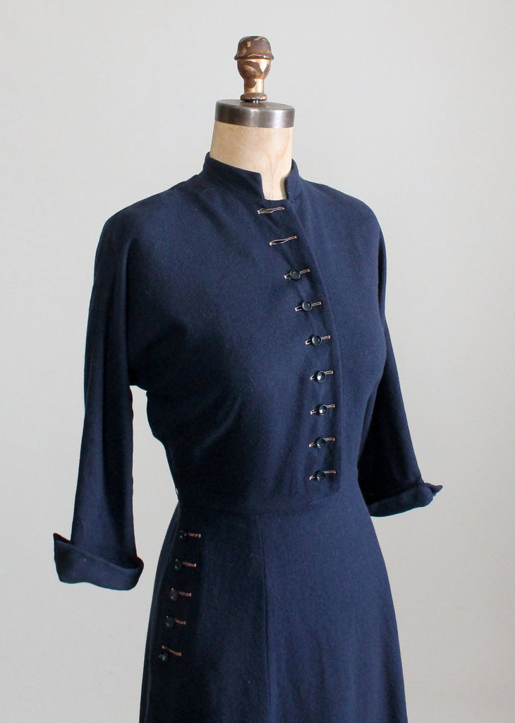 Vintage 1950s Navy Blue Wool Day Dress