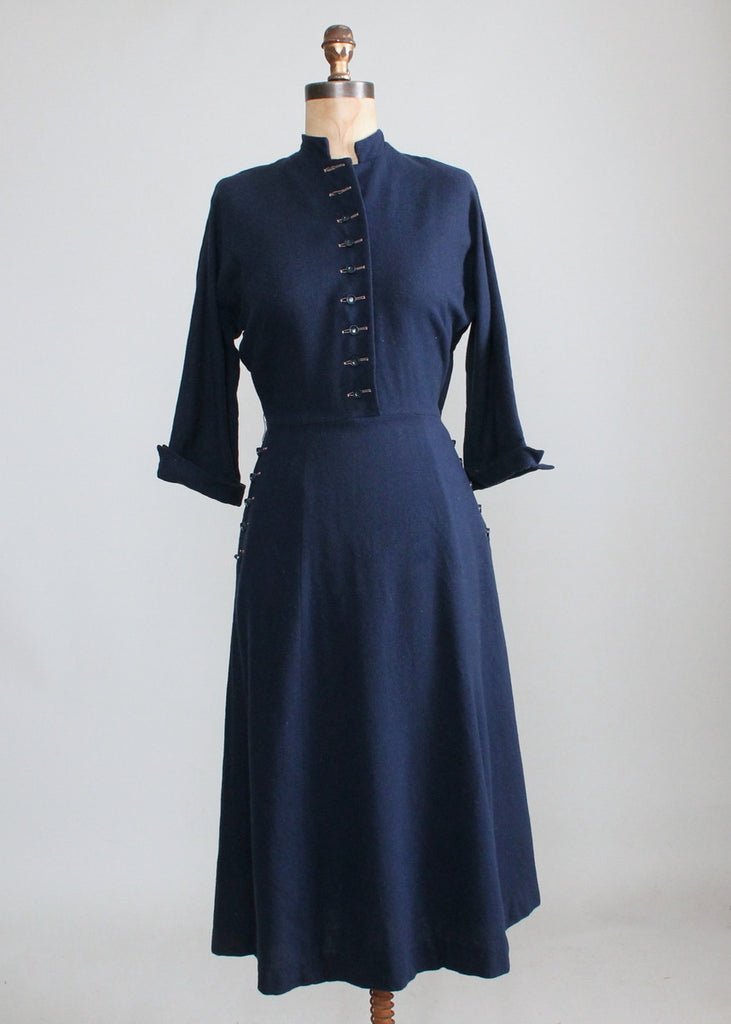 Well-liked Vintage 1950s Navy Blue Wool Day Dress | Raleigh Vintage ND26