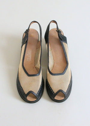 Vintage Eary 1950s Two Tone Mesh Wedge Sandals