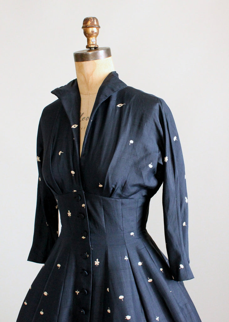 Vintage 1950s Navy Silk Leaf Print New Look Dress
