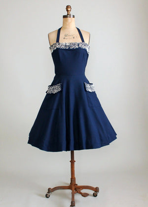 Vintage 1950s Navy Sundress with Soutache and Rhinestones