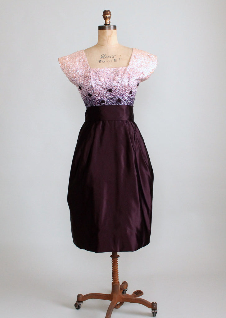 Vintage 1950s Sequined Plum Party Dress