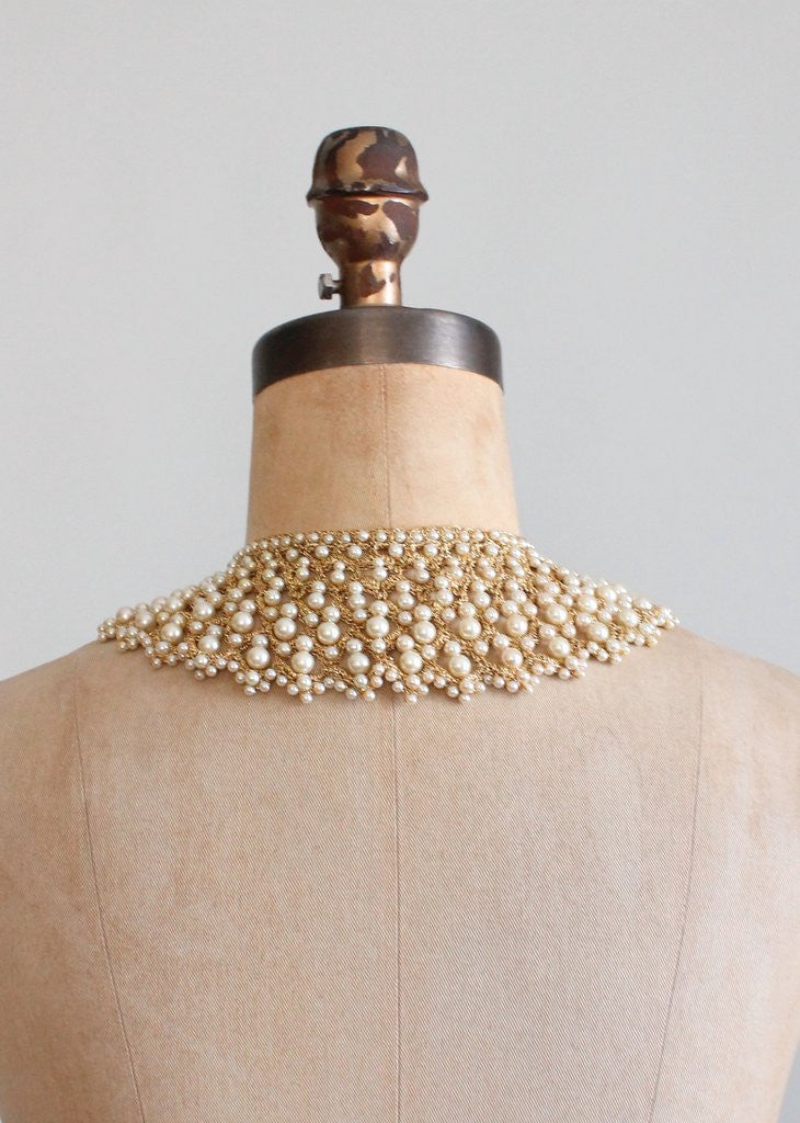 Vintage 1950s Pearls and Gold Woven Collar