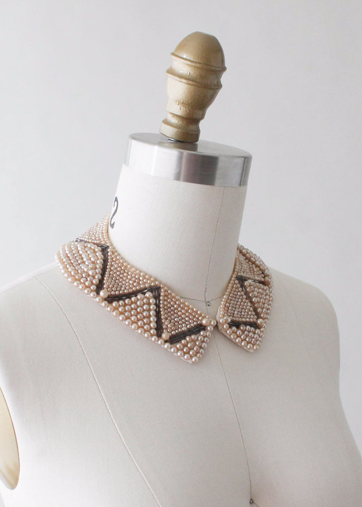 Vintage 1950s Grey and Pearl Beaded Collar