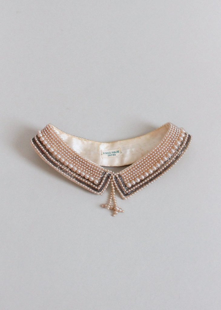 Vintage 1950s Pearl Beaded Sweater Collar with Tassels