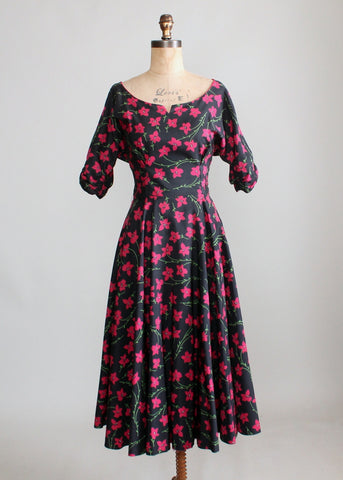 Vintage 1950s Raspberry Flowers Party Dress