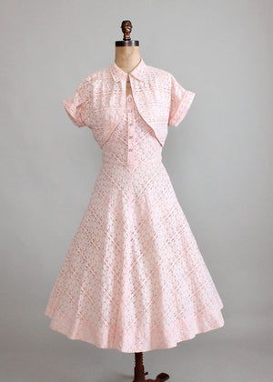 Vintage 1950s Pink Lace Party Dress and Bolero Jacket