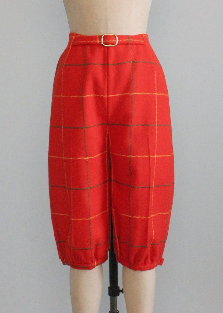 Vintage 1950s Plaid Wool Golf Knee Breeches