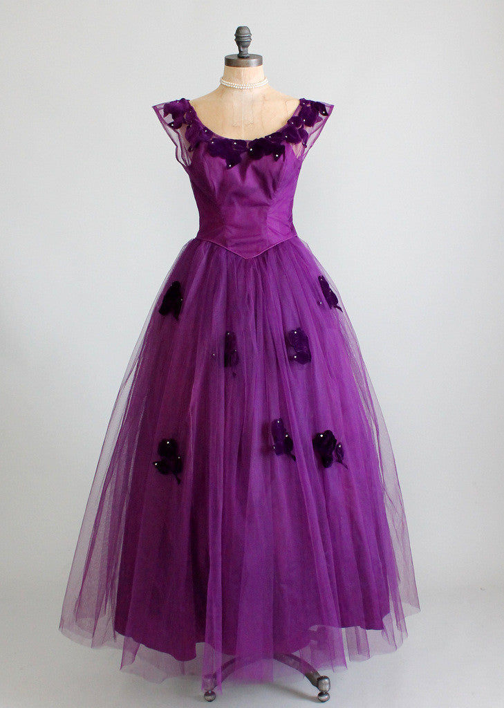 1950s purple prom dress