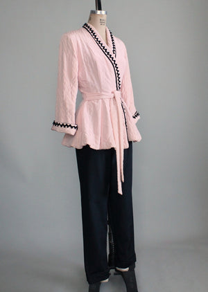 Vintage 1950s Pink and Black Lounging Set