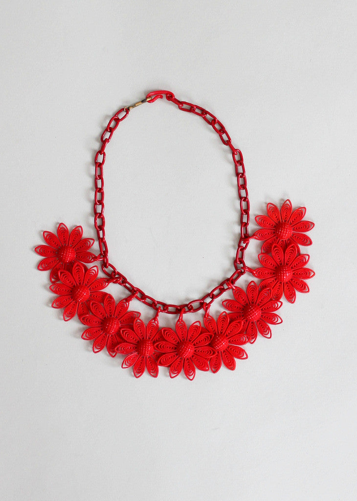 Vintage 1950s Red Daisies Plastic Necklace