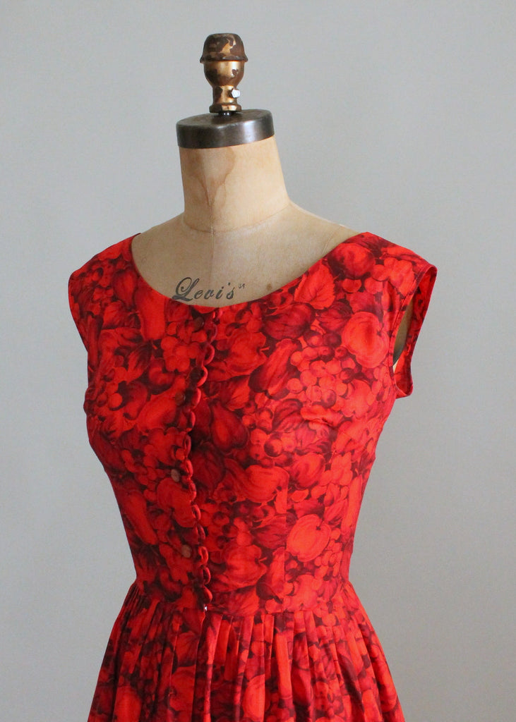 Vintage 1950s Mode O Day Red Floral Dress