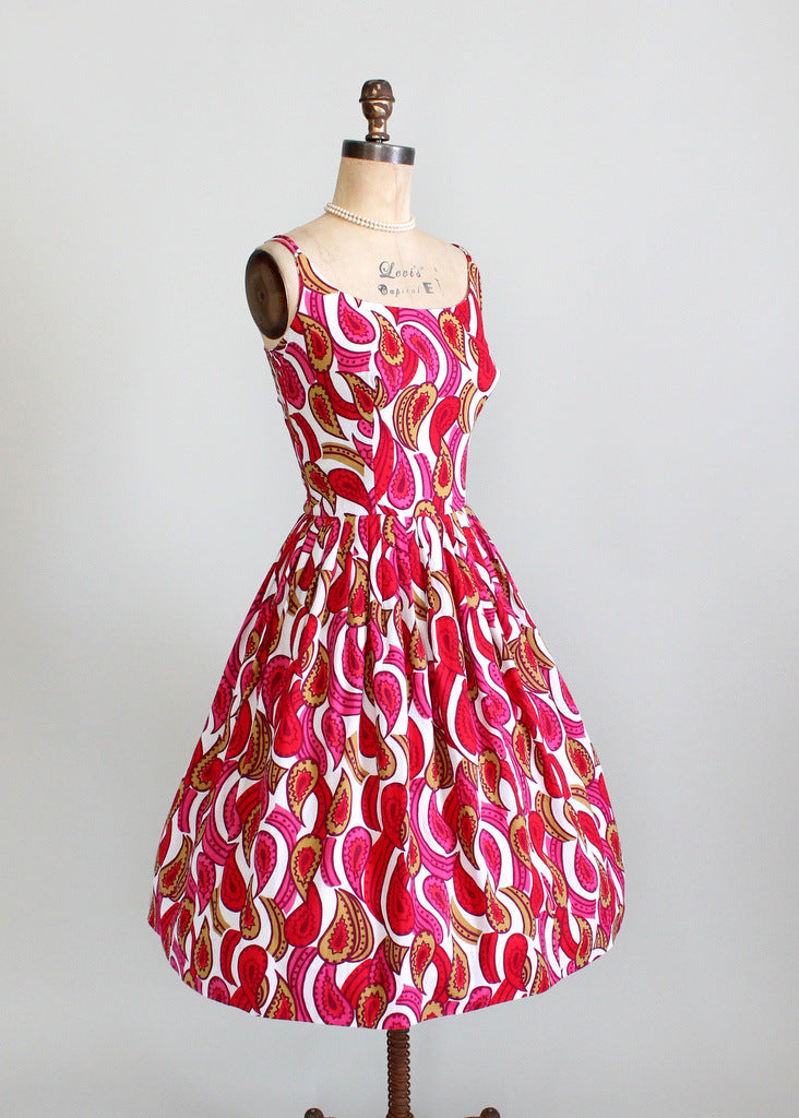 1950s cotton print sundress dress